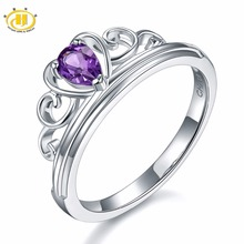 Hutang Natural Gemstone African Amethyst Solid 925 Sterling Silver Heart Engagement Rings Fine Jewelry For Women Gift 2017 NEW(China)