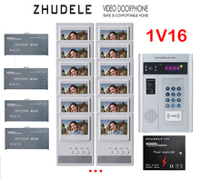 "ZHUDELE Building Home security intercom system 16 Units Apartment Video Door Phone Bell Intercom System 4.3""TFT monitor IN STOCK"