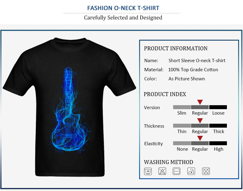 Electric Guitar Men T Shirts Brand New 3D Printed Tops T Shirt Summer Autumn 100% Cotton Fabric Crew Neck Tee Shirt Short Sleeve Electric Guitar