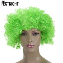 2016 FESTNIGHT Adult Green Clown Afro Wig Curly Synthetic Hair Halloween Masquerade Cosplay Costume Football Fans Wig