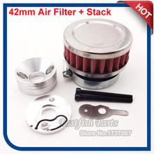 Racing 42mm Air Filter + Adapter Velocity Stack Aluminum For Go Ped G2D G23LH 23cc Big Foot Scooter(China)