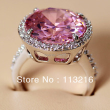 Fleure Esme First class products Engagement Wedding Promotion Pink Cubic Zirconia Jewelry Silver Plated Ring R147 sz# 6 7 8 9 10