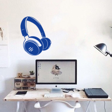 Art new design cheap home decor headset wall sticker removable fashion house decoration earphone decals for shop bar bedroom