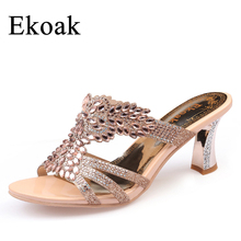 Ekoak New 2017 Summer Party Shoes Fashion Women Sandals Ladies Sexy Crystal High Heels Shoes Woman Open Toe Girls Slides(China)