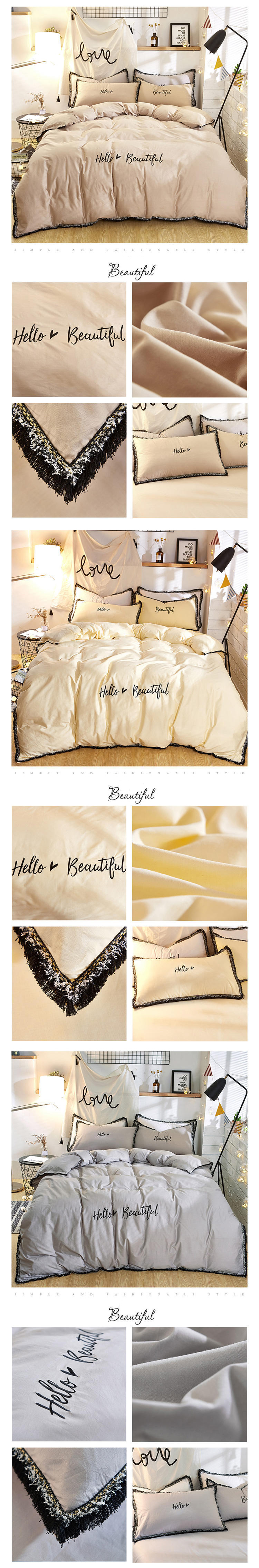 2018 bedding set queen size pure cotton embroidered ropa de cama bed linen cotton duvet cover simple fashion home textiles 5