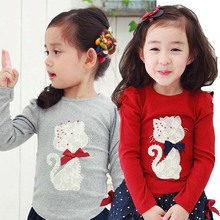 Size100~140 kids tops children t-shirts for girls long sleeve t shirts cat animal bottoming