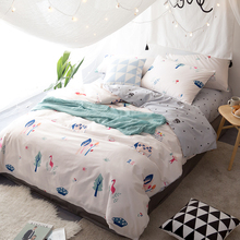 Flamingo Trees White Twin Queen King Size Bedding 3/4pcs Soft Cotton Bedlinens Duvet Cover Set Simple Cartoon Homeuse Bedding(China)