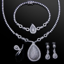 Higher Quality AAA Cubic Zirconia Heart shape Wedding jewelry Sets Cadmium Free Necklace/Earring/Bracelet/ring Set
