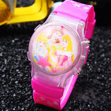 Hot Style 1PC Retail Princess Girls Children Waterball LED Flashing Light Watches Snow White Cartoon Character Kid Digital watch