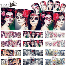 1 Sheet Skull Sexy Patterns Water Transfer Nail Art Halloween Designs Tickers Full Cover Color Tips TRBN181-192(China)