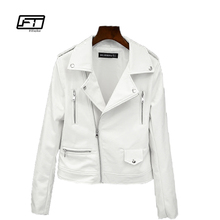Fitaylor 2018 New Spring Autumn Women Biker Leather Jacket Soft PU Punk Outwear Casual Motor Faux Leather White Jacket(China)