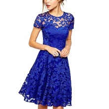 Women Casual Floral Lace Dresses Short Sleeve Soild Color Blue Red Black Party Mini Dress