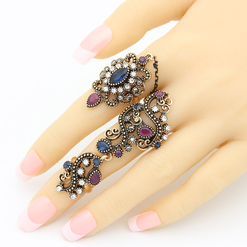 Vintage Turkish Blue Flower Double finger Rings Resin Jewelry Adjustable Size Women Antique Gold Plated Arabesque Stage Ring