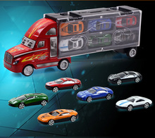 Christmas Gift For Children Cool Portable Container With 12 Alloy Cars Trucks Model Car Storage Box Vehicles Diecast Kids Toys