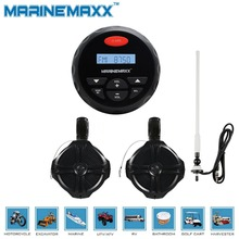 "4"" Waterproof Marine Gauge Radio FM AM Audio Bluetooth Stereo+ 6.5"" Marine WakeBoard Tower Speakers Totaling 500 Watts+Antenna"