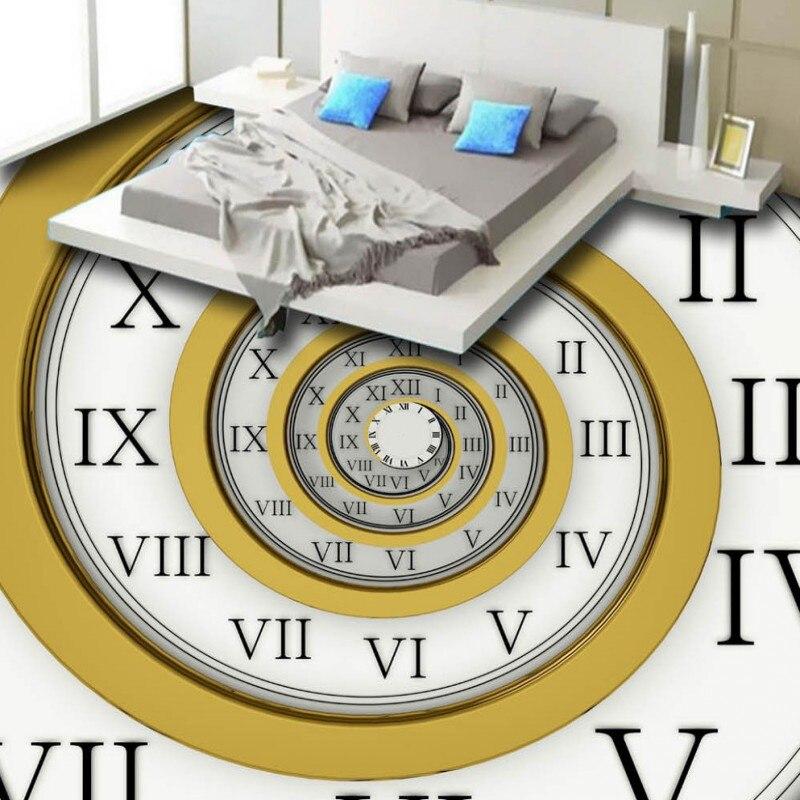 Free Shipping 3D Retro Roman numerals Clock watch Floor moisture-proof wear stereo bathroom lobby mural bedroom wallpaper<br>