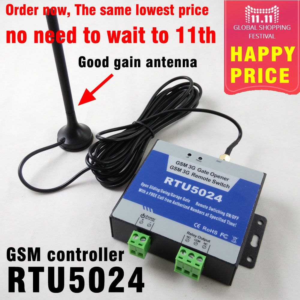 Free shipping RTU5024 GSM Gate Opener Relay Switch Remote Access Control Wireless Sliding gate Opener By Free Call App support<br>