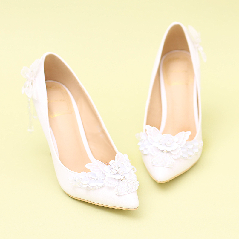 2017 New White Lace Bow Rhinestone Pendant Fringed Flowers Bride Shoes with Pointed Shoes Girl Party Shoes Pearl Wedding Shoes<br><br>Aliexpress