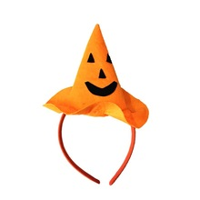 5pcs/lot Smiley pumpkin Hat Non-woven Halloween prom head hoop Pumpkin Headdress props Halloween supplies party decoration(China)