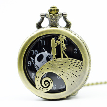 Vintage The Nightmare Before Christmas Sally Jack Skellington Color Dial Quartz Pocket Watch Necklace Mens Womens Xmas Gift