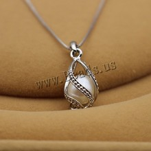 2015 New fashion genuine freshwater pearl pendant necklace for women  925 Sterling Silver jewelry wholesale price