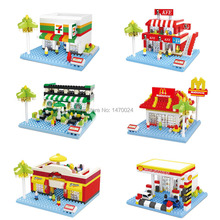 Hsanhe Mini Street Scene Convenience store fast food restaurants Coffee Sports Shop Nano Kids Building Block Educational Toys