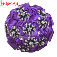 Buy WifeLai-A Black Bling Diamond Brooch Bridesmaids Mariage Bouquets Wedding Bouquets Flower Girl Crystal Silk Bouquet W2269-15 for $19.00 in AliExpress store