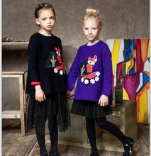 Girls Fox Appliques Loose Sweater Tops Winter Kids Jumper Knits Irregular Length Design Fine Quality