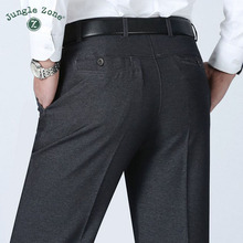 JUNGLE ZONE Large size Men's pants Summer Business men formal suit pants wedding bridegroom trousers 28~40 gray and black color