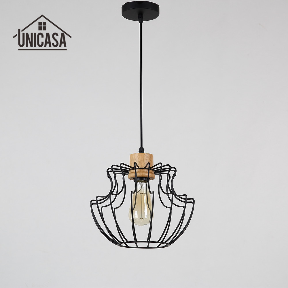 Antique Wooden Pendant Lights Wrought Iron Industrial Lighting Kitchen Island Modern LED Bulb Lamp Retro Pendant Ceiling Lamp<br>
