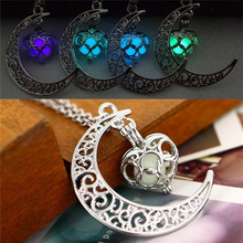 2016 new Fluorescence Necklace women moon love heart night jewelry Glow in the Dark Pendant with 48cm chain blue green purple n(China)