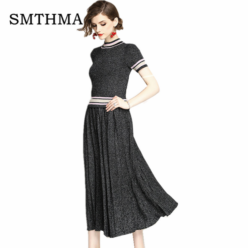 SMTHMA New Fashion 2019 Summer Designer Runway Bright silk knitting Tops+two piece Suit Set Women's Knitting Skirt Suit Set