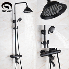 "Buy Oil Rubbed Bronze Thermostatic Shower Faucet 8"" Rainfall Shower Head Handheld Shower Wall Mount for $174.85 in AliExpress store"