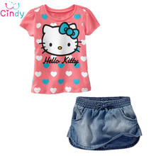 Free shiping hello kitty girls clothes set t shirt + jeans shorts 2pcs children's suit cotton kids summer clothes retail