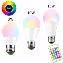 E27 LED Mudando a Cor RGB Magic Light Bulb Lamp 5 16/10/15 w 85-265 v 110 v 120 v 220 v RGB Diodo Emissor de Luz Spotlight + IR Remote Control(China)