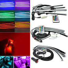 New Professional Wireless 24Keys/44Keys/Touch Screen RC RGB LED Strip Light Car Interior Atmosphere Set for Car(China)