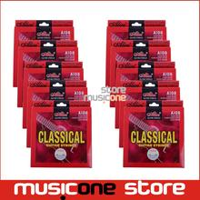 10set Classical Guitar Strings Clear Nylon Strings Silver Plated Copper Alloy Wound Normal Tension - Alice A108-N encordoamento
