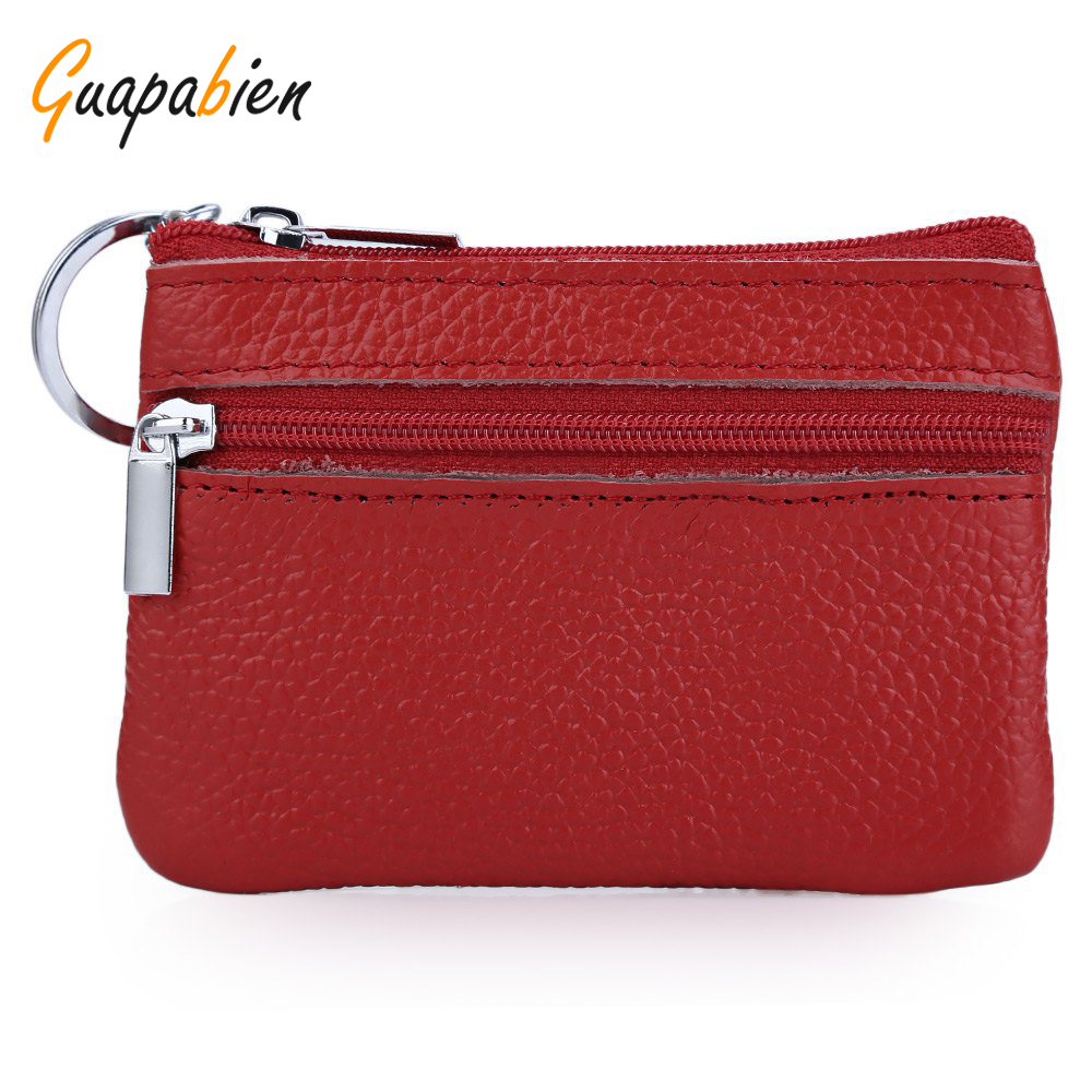 Guapabien Simple Unisex Wallets Money Holder Case Leather Double Zippers Horizontal Bag Women Leather Coin Purse With Key Ring<br><br>Aliexpress