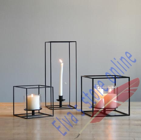 16.5cm x 16.5cm x 16.5cm Metal Iron Candle Holder Stand Art Geometry Cube Candle holder Decoration(China (Mainland))