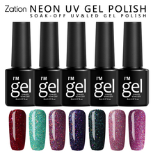 Zation 8ml Gel Varnish Neon Fluorescent Luminous Nail Gel Polish Soak Off Gel Night Glow In Dark Gloss Lacquer Semi-permanent(China)