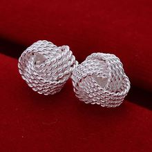 Free Shipping Wholesale summer style silver plated earrings for women Tennis net web stud earing cuff Fashion jewelry(China)