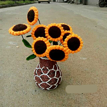 2016 Pure Handmade Knitted Crochet Artificial Sunflowers Plants Cactus Home / Office Putting Decorations 1pc(China)