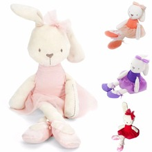 Cute Rabbit Bear Doll Baby Plush Toy Soft Ballet Bunny Rabbit Doll Kids Comfort Appease Doll Best Gift For Kids 42cm