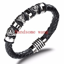 New Fashion Black Leather With Silver Portraits Wristband 316L Stainless Steel Cool Men's Bracelet Jewelry 8.5inch Low Price(China)