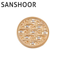 New SANSHOOR GOLD TONE POLISHED 33mm MULTICOLOR CRYSTAL ELEMENTS COIN FIT MY COIN HOLDER FRAME PENDANT 1pcs