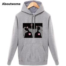 Aboutwome Funny Women Winter Warm Hoodie Sweatshirt Cute Leisure Long Sleeve Plus Velvet Blue Red Gray Yellow Hoody Tops(China)