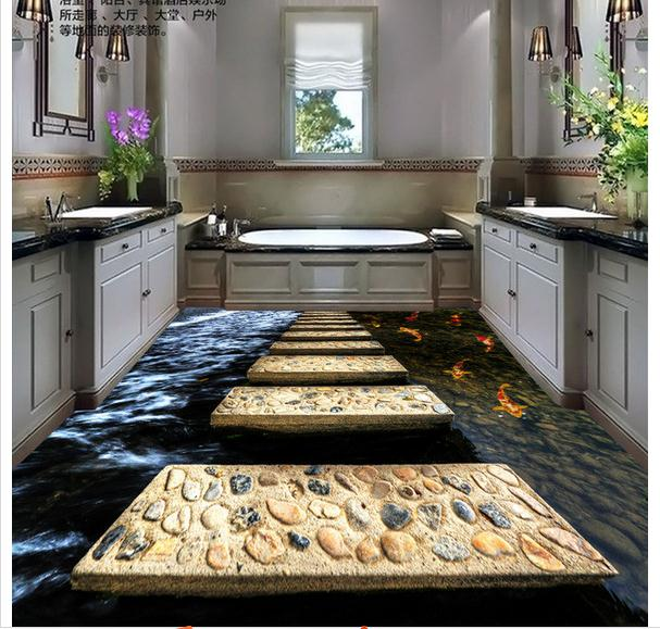 Customized 3d wallpaper 3d floor painting wallpaper 3 d to stick a stone path beauty Floor painting<br>
