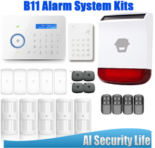 Etiger Android/IOS Chuango B11 PSTN/GSM Alarm Systems Security Home Wireless Strobe Siren 4PCS RFID Card Control Panel