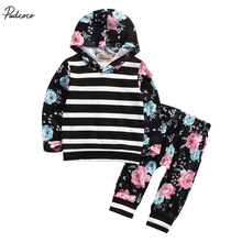 New 2017 Newborn Toddler Baby Girls Long Sleeve Striped Floral Hoodie Tops Sweatshirt Pants 2pcs Outfits Set Costume(China)