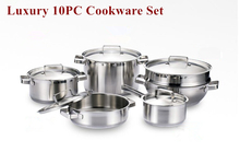Top Quality Utensilios De Cocina 11pc Of 304 Stainless Steel Cookware Set Casserole+Stew Pot+Saucepan Free Shipping